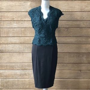 Ted Baker Lace Bodice and Black Pencil Skirt Dress
